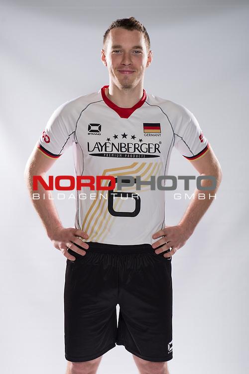 24.05.2015, Sportzentrum Westenfeld, Bochum<br /> Volleyball, Fotoshooting Nationalmannschaft MŠnner / Maenner<br /> <br /> Denis Kaliberda (#6 GER)<br /> <br />   Foto &copy; nordphoto / Kurth