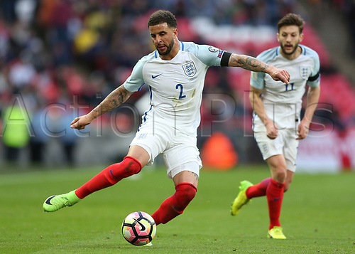 March 26th 2017, Wembley Stadium, London, England; World Cup 2018 Qualification football, England versus Lithuania; Kyle Walker of England crossing the ball