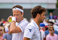 London, England, 4 th. July, 2018, Tennis,  Wimbledon, Men's doubles: Robin Haase (NED) Robert Lindstedt (SWE) (L)<br /> Photo: Henk Koster/tennisimages.com