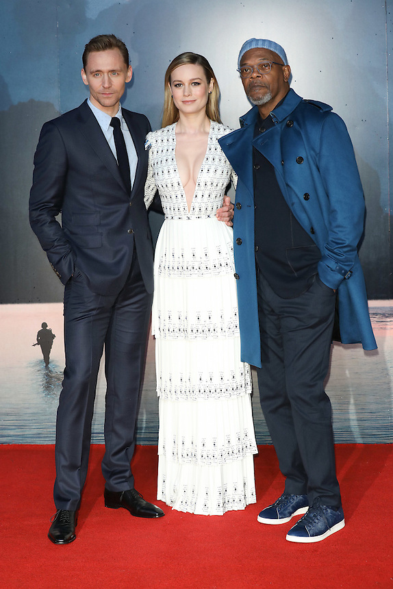 "Tom Hiddlestone, Brie Larson and Samuel L Jackson<br /> arrives for the ""Kong: Skull Island"" premiere, Empire Leicester Square, London.<br /> <br /> <br /> ©Ash Knotek  D3235  28/02/2017"