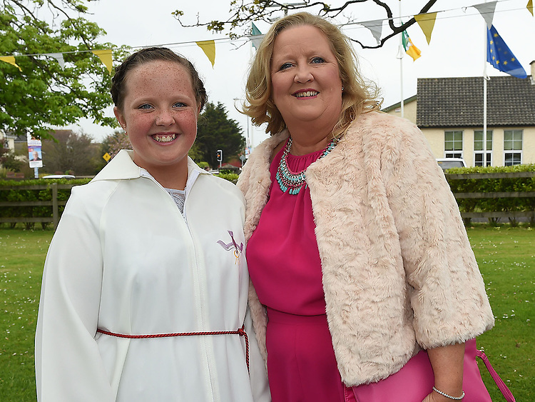 Mia Farrell who was Confirmed in the Sacred Heart Church Laytown pictured with Mam Denise. Photo:Colin Bell/pressphotos.ie