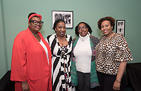 From left, Monique Hankerson, Associate Director of Housing Services, Tarana Burke, Rhonda Brown Vice President for Equity and Inclusion and Chief Diversity Officer, and Ella Turenne, Assistant Dean for Community Engagement.<br /> An Evening with Tarana Burke, founder of the #MeToo movement & social justice activist, Thorne Hall, Feb. 26, 2018.<br /> Tarana Burke shares the heartbreaking story behind the genesis of the viral 'me too' movement, and gives strength and healing to those who have experienced sexual trauma or harassment. The simple yet courageous #metoo hashtag campaign amplified by actress Alyssa Milano, has emerged as a rallying cry for people everywhere who have survived sexual assault and sexual harassment – and Tarana's powerful, poignant story as creator of what is now an international movement that supports survivors will move, uplift, and inspire you.<br /> Sponsored by: Residential Education & Housing Services, Project SAFE, Office of Community Engagement, Intercultural Community Center, Chief Diversity Officer & Remsen Bird.<br /> (Photo by Marc Campos, Occidental College Photographer)