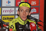 Race leader Simon Yates (GBR) Mitchelton-Scott post stage interview knows he has won the overall at the end of Stage 20 of the La Vuelta 2018, running 97.3km from Andorra Escaldes-Engordany to Coll de la Gallina, Spain. 15th September 2018.                   <br /> Picture: Colin Flockton | Cyclefile<br /> <br /> <br /> All photos usage must carry mandatory copyright credit (&copy; Cyclefile | Colin Flockton)