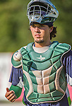 1 September 2014: Vermont Lake Monsters catcher Jose Chavez walks back to the dugout during the season's Labor Day finale against the Tri-City ValleyCats at Centennial Field in Burlington, Vermont. The ValleyCats defeated the Lake Monsters 3-2 in NY Penn League action. Mandatory Credit: Ed Wolfstein Photo *** RAW Image File Available ****