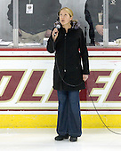 Former Boston College Eagle Sarah Carlson sings the national anthem. - The Boston College Eagles defeated the Providence College Friars 4-1 on Tuesday, January 12, 2010, at Conte Forum in Chestnut Hill, Massachusetts.