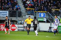 VOETBAL: HEERENVEEN: Abe Lenstra Stadion, SC Heerenveen - Vitesse, 21-01-2012, Eindstand 1-1, Michihiro Yasuda (#16), scheidsrechter Tom van Sichem, Anthony Annan (#20), Bas Dost (#12), ©foto Martin de Jong