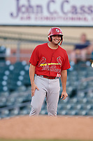 Palm Beach Cardinals pinch runner Juan Yepez (44) leads off first base during a game against the Jupiter Hammerheads on August 4, 2018 at Roger Dean Chevrolet Stadium in Jupiter, Florida.  Palm Beach defeated Jupiter 7-6.  (Mike Janes/Four Seam Images)
