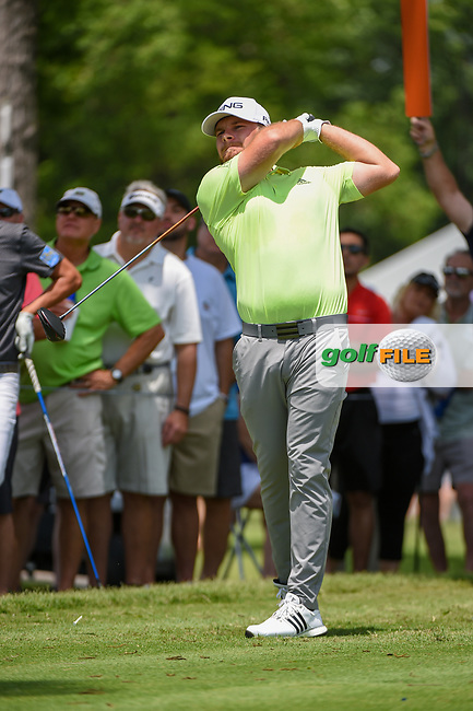 Tyrrell Hatton (ENG) watches his tee shot on 3 during round 3 of the 2019 Charles Schwab Challenge, Colonial Country Club, Ft. Worth, Texas,  USA. 5/25/2019.<br /> Picture: Golffile   Ken Murray<br /> <br /> All photo usage must carry mandatory copyright credit (© Golffile   Ken Murray)
