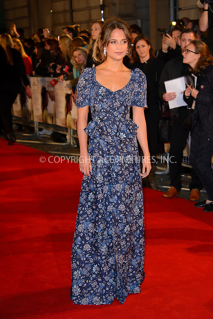 www.acepixs.com<br /> <br /> October 19 2016, London<br /> <br /> Alicia Vikander arrives at the UK premiere of 'The Light Between Oceans' at the Curzon Mayfair on October 19, 2016 in London, England.<br /> <br /> By Line: Famous/ACE Pictures<br /> <br /> <br /> ACE Pictures Inc<br /> Tel: 6467670430<br /> Email: info@acepixs.com<br /> www.acepixs.com