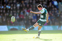 Freddie Burns of Leicester Tigers kicks for the posts. Aviva Premiership match, between Northampton Saints and Leicester Tigers on April 16, 2016 at Franklin's Gardens in Northampton, England. Photo by: Patrick Khachfe / JMP