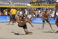 Huntington Beach, CA - 5/6/07:  Sean Rosenthal  dives for the ball during Gibb / Rosenthal's 21-17, 21-18 loss to Lambert / Metzger in the championship match of the AVP Cuervo Gold Crown Huntington Beach Open of the 2007 AVP Crocs Tour..Photo by Carlos Delgado