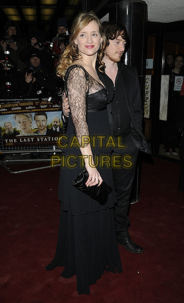 ANNE MARIE DUFF & JAMES McAVOY .The UK Premiere of 'The Last Station' at The Curzon Mayfair Cinema, London, England..January 26th 2010.full length black jacket dress lace clutch bag married husband wife beard facial hair maxi suit side.CAP/CAN.©Can Nguyen/Capital Pictures.