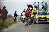 Greg Van Avermaet (BEL/BMC), Sep Vanmarcke (BEL/LottoNL-Jumbo) &amp; Zdenek Stybar (CZE/Etixx-QuickStep) try to catch the race leaders over the Lange Munte cobbles just 16 seconds ahead<br /> <br /> Omloop Het Nieuwsblad 2015