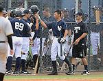 Gosuke Kato (Yankees), JUNE 21, 2013 - MLB : Gosuke Katoh of the Yankees celebrates his homerun during the Gulf Coast League game between the Gulf Coast League Yankees1 and the Gulf Coast League Pirates at Yankee Complex in Tampa, Florida, United States. (Photo by AFLO)