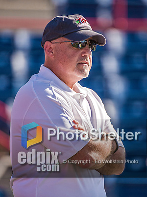 9 March 2014: Washington Nationals President of Baseball Operations & General Manager Mike Rizzo watches batting practice prior to a Spring Training game against the St. Louis Cardinals at Space Coast Stadium in Viera, Florida. The Nationals defeated the Cardinals 11-1 in Grapefruit League play. Mandatory Credit: Ed Wolfstein Photo *** RAW (NEF) Image File Available ***