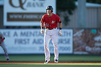 Louie Lechich (21) of the Kannapolis Intimidators takes his lead off of second base against the Hickory Crawdads at CMC-Northeast Stadium on May 22, 2015 in Kannapolis, North Carolina.  The Intimidators defeated the Crawdads 4-3.  (Brian Westerholt/Four Seam Images)