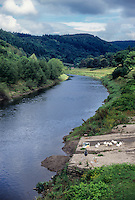 Wales, Offa's Dyke Footpath.  Painter's Easel on the Banks of the River Wye, Brockweir.  England on the right, Wales on the left.