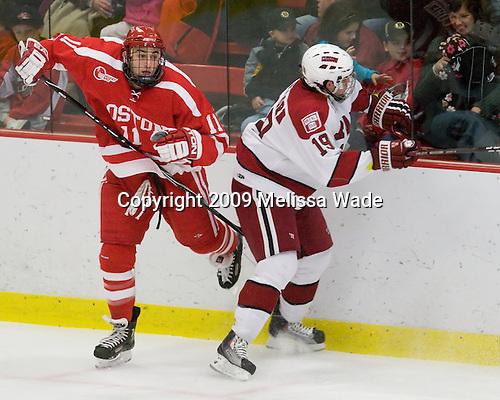 Zach Cohen (BU - 11), Alex Killorn (Harvard - 19) - The Boston University Terriers defeated the Harvard University Crimson 6-5 in overtime on Tuesday, November 24, 2009, at Bright Hockey Center in Cambridge, Massachusetts.