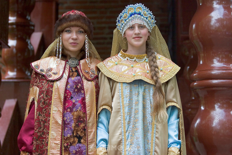 Uglic. Young Russian tourist girls going from Moscow to St. Petersburg dressing up like the czars for souvenir photos...A river cruise from Moscow to St. Petersburg aboard MS Kazan, the most luxurious vessel (four star plus) operating in Russia. It is run by Austrian River Cruises under strictly Western standards, chartered - amongst others - by Club 50, a senior's travel agency based in Vienna.