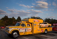 Aug. 29, 2013; Avon, IN, USA: The car hauler for NHRA driver Don Prudhomme on display during the premiere of Snake & Mongoo$e at the Regal Shiloh Crossing Stadium 18. Mandatory Credit: Mark J. Rebilas-