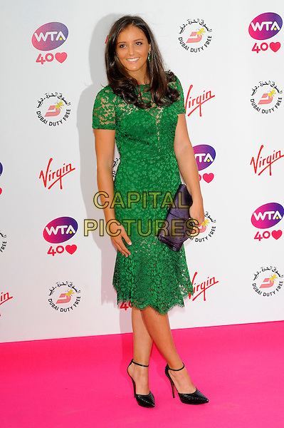 Laura Robson<br /> The WTA Pre Wimbledon Party, Kensington Roof Gardens, London, England, UK,<br /> 20th June 2013.<br /> full length green lace dress sheer purple clutch bag shoes black ankle strap<br /> CAP/CJ<br /> &copy;Chris Joseph/Capital Pictures