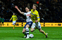 Leeds United's Patrick Bamford is tackled by Preston North End's Ben Davies<br /> <br /> Photographer Alex Dodd/CameraSport<br /> <br /> The EFL Sky Bet Championship - Preston North End v Leeds United -Tuesday 9th April 2019 - Deepdale Stadium - Preston<br /> <br /> World Copyright &copy; 2019 CameraSport. All rights reserved. 43 Linden Ave. Countesthorpe. Leicester. England. LE8 5PG - Tel: +44 (0) 116 277 4147 - admin@camerasport.com - www.camerasport.com