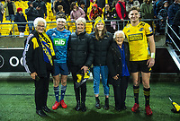 Beauden and Jordie Barrett with family after the Super Rugby Aotearoa match between the Hurricanes and Blues at Sky Stadium in Wellington, New Zealand on Saturday, 18 July 2020. Photo: Dave Lintott / lintottphoto.co.nz