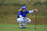 Caroline Hedwell (EUR) on the 1st green during Day 3 Singles at the Solheim Cup 2019, Gleneagles Golf CLub, Auchterarder, Perthshire, Scotland. 15/09/2019.<br /> Picture Thos Caffrey / Golffile.ie<br /> <br /> All photo usage must carry mandatory copyright credit (© Golffile | Thos Caffrey)