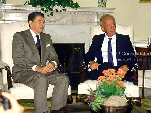 Washington, D.C. - (FILE) -- United States President Ronald Reagan meets Defense Minister Yitzhak Rabin of Israel in the Oval Office of the White House in Washington, D.C. on Tuesday, June 28, 1988..Credit: Ron Sachs / CNP