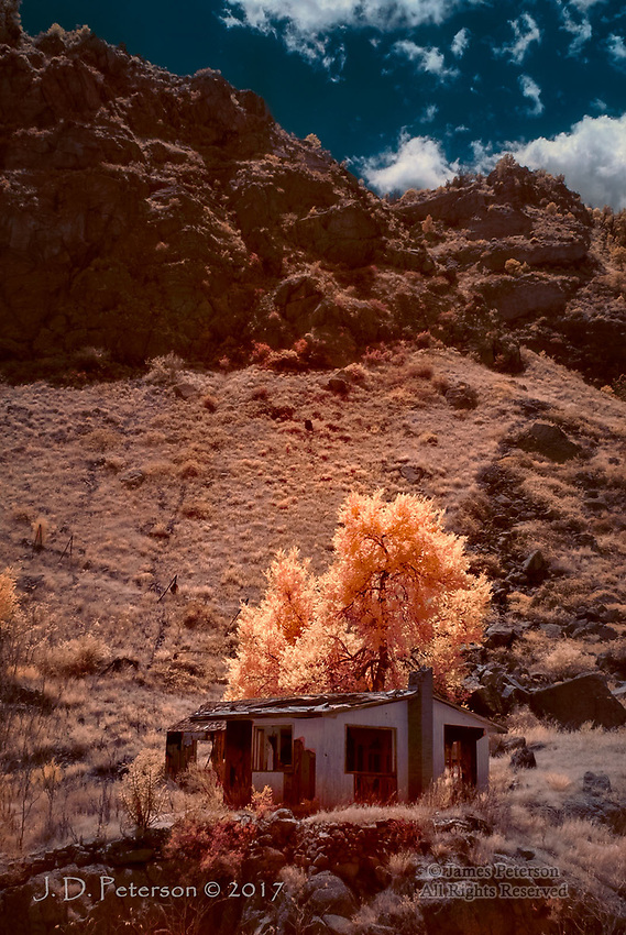 Abandoned Home, Royal Gorge, Colorado (Infrared) ©2017 James D Peterson.  I photographed this sad structure while riding the Royal Gorge Route Railroad.  What seems particularly remarkable about it is how or why anyone would live at the bottom of a rugged, 1000 foot deep canyon in the first place.