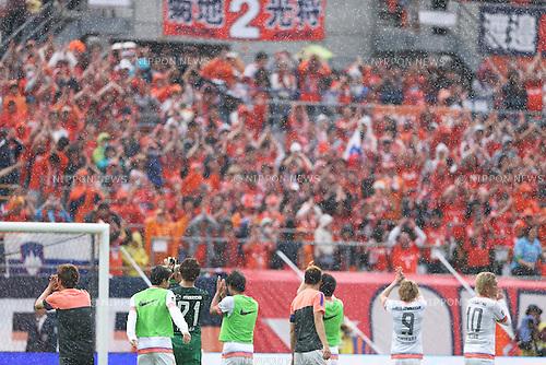 Sanfrecce Hiroshima team group,.MAY 6, 2013 - Football / Soccer :.Sanfrecce Hiroshima players acknowledge Omiya Ardija fans after the 2013 J.League Division 1 match between Omiya Ardija 2-1 Sanfrecce Hiroshima at NACK5 Stadium Omiya in Saitama, Japan. (Photo by Kenzaburo Matsuoka/AFLO)