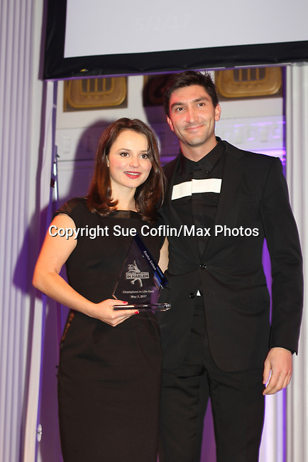 Figure Skating in Harlem celebrates 20 years - Champions in Life benefit Gala on May 2, 2017 honoring Sasha Cohen and award is presented to her by Evan Lysacek.  (Photo by Sue Coflin/Max Photos)