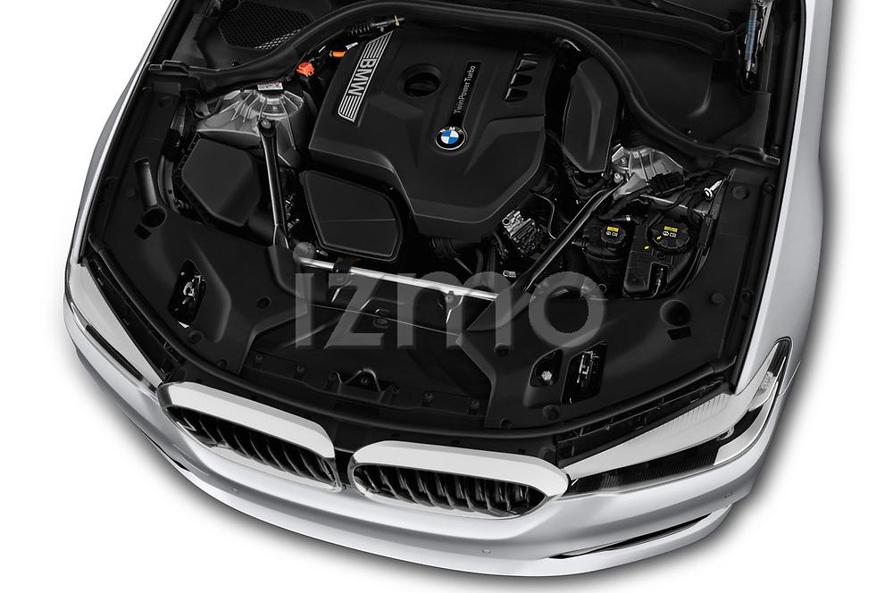 Car stock 2018 BMW 5 Series 530i 2WD 4 Door Sedan engine high angle detail view