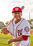 28 February 2016: Washington Nationals shortstop Wilmer Difo poses for his Spring Training Photo-Day portrait at Space Coast Stadium in Viera, Florida. Mandatory Credit: Ed Wolfstein Photo *** RAW (NEF) Image File Available ***