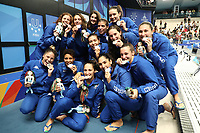 Italy playes celebrate the silver medal <br /> Napoli 13-07-2019 Piscina Scandone <br /> Napoli 2019 30th Summer Universiade 3 - 14 July 2019<br /> ITALY - HUNGARY <br /> Water Polo Women Gold Metal Match <br /> Photo Cesare Purini / Insidefoto