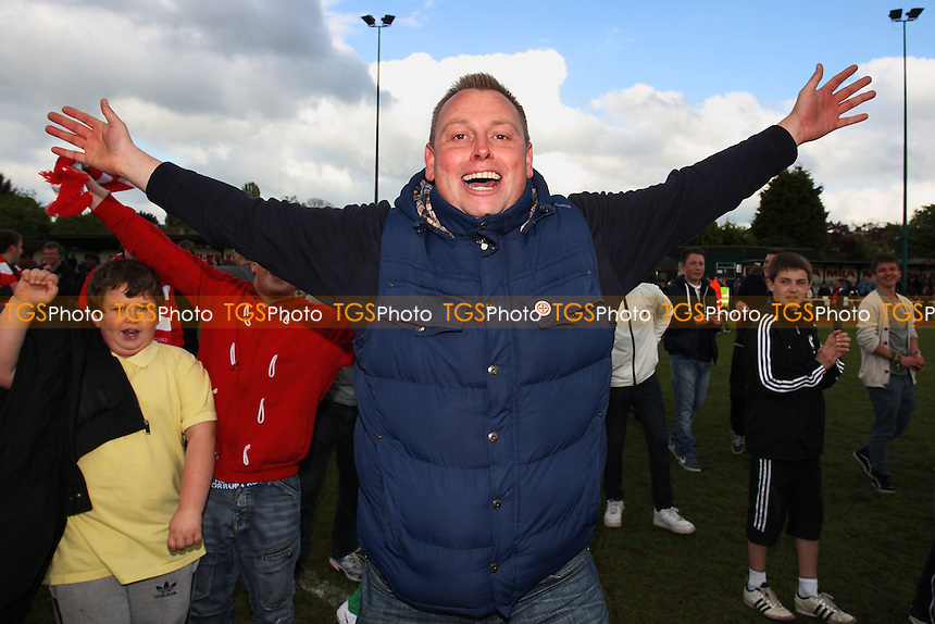 Hornchurch fans celebrate victory - AFC Hornchurch vs Lowestoft Town - Ryman League Premier Division Play-Off Final Football at The Stadium, Upminster Bridge, Essex - 07/05/12 - MANDATORY CREDIT: Gavin Ellis/TGSPHOTO - Self billing applies where appropriate - 0845 094 6026 - contact@tgsphoto.co.uk - NO UNPAID USE.