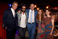 """LOS ANGELES, CA - APRIL 3: (L-R) Cast members Chris Geere, Desmin Borges, Creator/EP/Showrunner/Writer/Director Stephen Falk and cast members Kether Donohue and Aya Cash attend the post-party at Two Bit Circus following the FYC Red Carpet event for the series finale of FX's """"You're the Worst"""" on April 3, 2019 in Los Angeles, California. (Photo by Frank Micelotta/FX/PictureGroup)"""