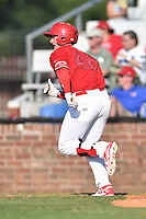Johnson City Cardinals designated hitter Andrew Knizner (48) runs to first during a game against the Elizabethton Twins at Howard Johnson Field at Cardinal Park on June 26, 2016 in Johnson City, Tennessee. The Twins defeated the Cardinals 13-12. (Tony Farlow/Four Seam Images)
