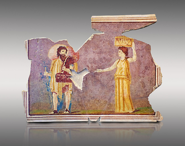 Roman fresco wall decorations from Villas of Rome. Museo Nazionale Romano ( National Roman Museum), Rome, Italy. Against a grey background.