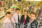 MEDICINES: Tralee pharmacists who are among those who won't be dispensing prescription medicines from Saturday in a dispute with the government over fees, l-r: Owen Daly (Kennelly's), Peter Harty (CH Chemist), Claire O'Connor (Leahy's), Mike Ryle (Ashe Street Pharmacy).