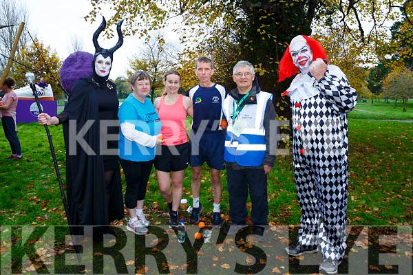 Bridget Moore, Ann McCarthy, Ann Kelliher, Ollie Horan, John Conway and Kevin Williams enjoying the spooktacular parkrun in Fancy Dress on Saturday