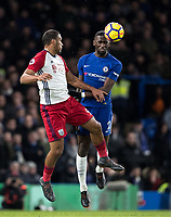 Antonio Rudiger of Chelsea heads clear of Jose Salomon Rondon of WBA during the Premier League match between Chelsea and West Bromwich Albion at Stamford Bridge, London, England on 12 February 2018. Photo by Andy Rowland.