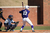 Cody Manzella (13) of the High Point Panthers at bat against the UNCG Spartans at Willard Stadium on February 14, 2015 in High Point, North Carolina.  The Panthers defeated the Spartans 12-2.  (Brian Westerholt/Four Seam Images)