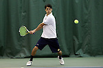 13 March 2016: Notre Dame's Nicolas Montoya. The Wake Forest University Demon Deacons hosted the University of Notre Dame Fighting Irish at the Wake Forest Indoor Tennis Center in Winston-Salem, North Carolina in a 2015-16 NCAA Division I Men's Tennis match. Wake Forest won the match 7-0.