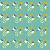 """Amid Enchanted Tulips"" is a scalable vector surface pattern collection - inspired by Scandinavian folk art. In a Scandinavian garden one night, all the tulips get enchanted as a bunny gets lost amid them, and keeps wandering there, filled with wonder!<br />