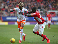 Blackpool's Armand Gnanduillet battles with Charlton Athletic's Mouhamadou-Naby Sarr<br /> <br /> Photographer David Shipman/CameraSport<br /> <br /> The EFL Sky Bet League One - Charlton Athletic v Blackpool - Saturday 16th February 2019 - The Valley - London<br /> <br /> World Copyright © 2019 CameraSport. All rights reserved. 43 Linden Ave. Countesthorpe. Leicester. England. LE8 5PG - Tel: +44 (0) 116 277 4147 - admin@camerasport.com - www.camerasport.com