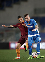 Calcio, Serie A: Roma, stadio Olimpico, 1 aprile, 2017.<br /> Empoli's Marcel Buchel (r) in action with Roma's Leandro Paredes (l) during the Italian Serie A football match between Roma and Empoli at Olimpico stadium, April 1, 2017<br /> UPDATE IMAGES PRESS/Isabella Bonotto