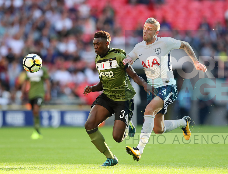 Tottenham's Toby Alderweireld tussles with Juventus Moise Kean during the pre season match at Wembley Stadium, London. Picture date 5th August 2017. Picture credit should read: David Klein/Sportimage