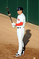 Boston Red Sox outfielder Jacoby Ellsbury #2 prepares for an at bat for the Pawtucket Red Sox during a game versus the Syracuse Chiefs at McCoy Stadium in Pawtucket, Rhode Island on July 7, 2012. Ellsbury is with PawSox on a rehabilitation assignment.   (Ken Babbitt/Four Seam Images)