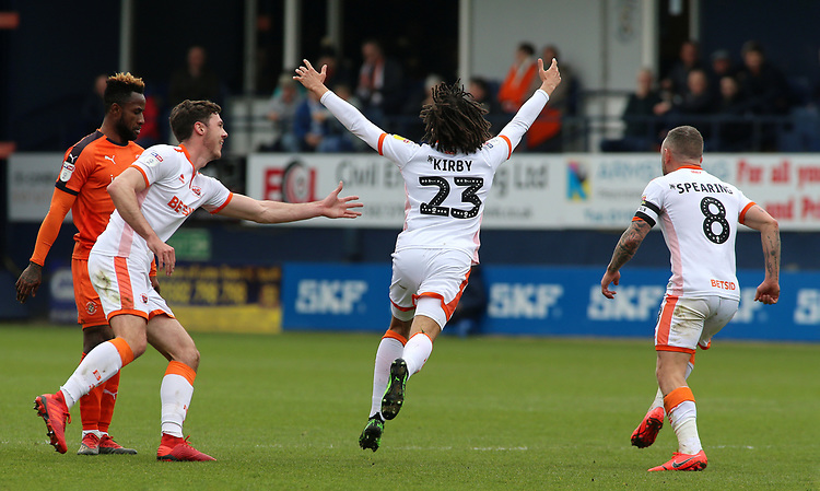 Blackpool's Nya Kirby celebrates scoring his side's first <br /> <br /> Photographer David Shipman/CameraSport<br /> <br /> The EFL Sky Bet League One - Luton Town v Blackpool - Saturday 6th April 2019 - Kenilworth Road - Luton<br /> <br /> World Copyright © 2019 CameraSport. All rights reserved. 43 Linden Ave. Countesthorpe. Leicester. England. LE8 5PG - Tel: +44 (0) 116 277 4147 - admin@camerasport.com - www.camerasport.com